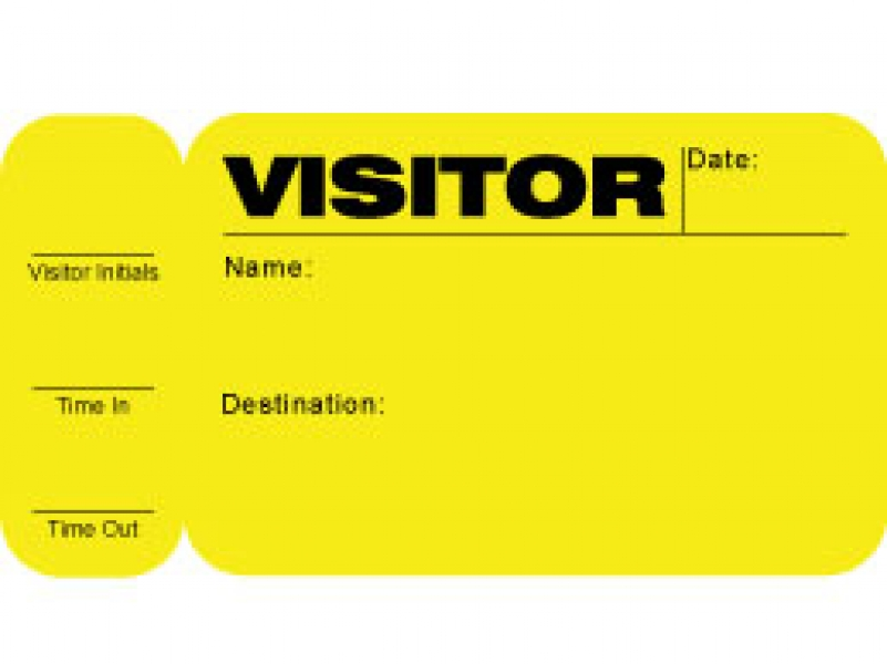 side sign out visitor pass id card with yellow background pack of 500