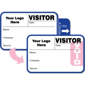 Tab-Expiring Visitor Pass ID Card With Custom Logo (Pack of 500) - Style C Image 1