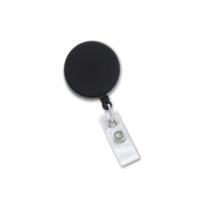 Black/Chrome Heavy-Duty badge Reel with Steel Cable, Reinforced Vinyl Strap & Belt Clip (pack of 25) Image 1