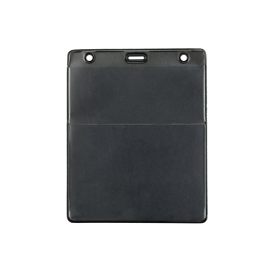 Black Vertical Event Vinyl Credential Wallet w/ Slot & Chain Holes (pack of 100) Image 1