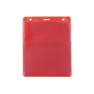 Red Vertical Event Vinyl Credential Wallet w/ Slot & Chain Holes (pack of 100) Image 1
