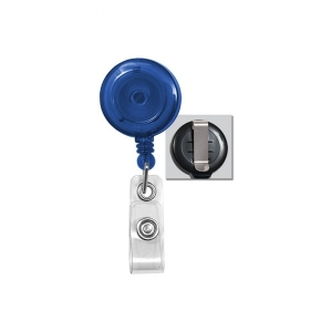 Translucent Royal Blue Badge Reel with Clear Vinyl Strap and Belt Clip (Pack of 75) - OB Image 1