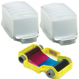 Magicard Full Colour Ribbon with Card Dispensers - YMCKO - 100 Prints Image 1