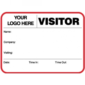 Visitor Pass Registry Book Custom Non-Expiring Large Badges - 735A Company (1 Book) Image 1