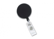 Black/Chrome Heavy-Duty badge Reel with Steel Cable, Reinforced Vinyl Strap & Belt Clip (pack of 25)