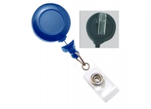 Navy Blue Badge Reel with Clear Vinyl Strap & Swivel Spring Clip (pack of 25)