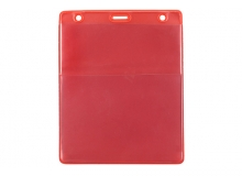Red Vertical Event Vinyl Credential Wallet w/ Slot & Chain Holes (pack of 100)