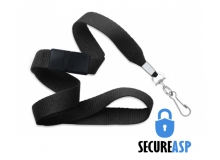 Secure ASP 5/8in Black Polyester Breakaway Lanyard with 2in Swivel Hook Clip (Pack of 100)