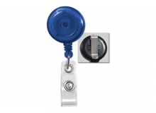 Translucent Royal Blue Badge Reel with Clear Vinyl Strap and Belt Clip (Pack of 75) - OB
