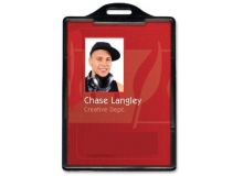 Vertical ID Card Holder - Plastic - (Pack of 100) - Black